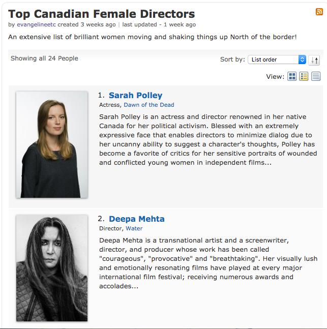 Top Female Directors women director canadian women director imdb