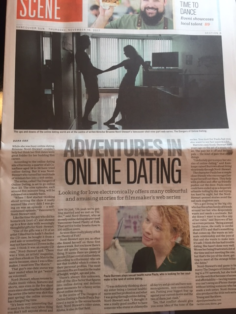 vancouver sun, vancouver province, peter new, teresa trovato, Dana gee, paula burrows, brianne nord-stewart, doodtheseries. the dangers of online dating